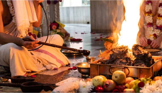 Pujas in temples & homes by solemn side